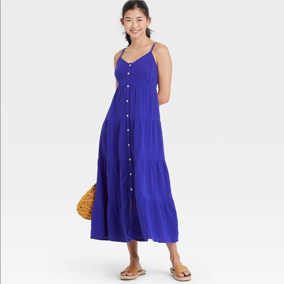 ISO Universal Thread Blue button-front dress Large